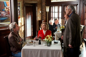 """Outside the Bubble""--Diane (Christine Baranski, sitting right)  and Kurt (Gary Cole, sitting left) run into her friends, Lyle (Robert Klein, standing right) and Francesca (Helen Carey, standing left), who are surprised that Diane is in a relationship with someone who holds such conservative views, on THE GOOD WIFE at a special time, Sunday, October 20 (9:30-10:30 PM, ET/PT) on the CBS Television Network.  Photo: David M. Russell/CBS ©2013 CBS Broadcasting Inc. All Rights Reserved"